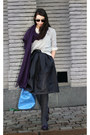 Dark-brown-topshop-skirt-heather-gray-gina-tricot-sweater
