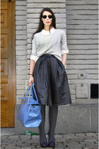 dark brown Topshop skirt - heather gray GINA TRICOT sweater