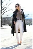 silver Zara heels - black Burberry leather coat - light brown fillipa k shirt