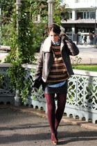 dark green H&M sweater - dark brown lindex jacket - sky blue pocoloco shirt