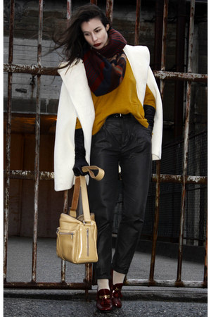 mustard lindex sweater - ruby red H&amp;M scarf - white Burberry cape