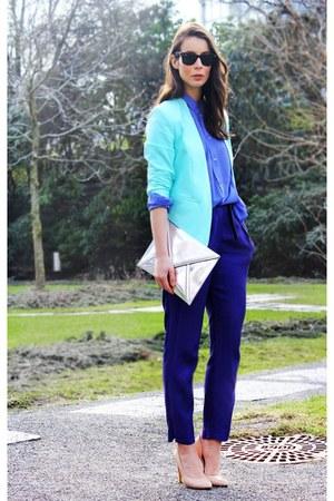 aquamarine H&M Trend blazer - violet acne shirt - silver Zara purse