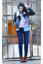 sky blue pocoloco denim shirt - tawny Alexander Wang boots - violet acne sweater