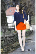 carrot orange H&M skirt - navy Velour sweater - ivory Bik Bok shirt