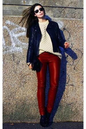 brick red Cubus pants - ivory fair isle jumper - Burberry heels