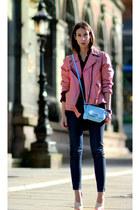 bubble gum vintage from Ebay jacket - navy JBrand jeans - crimson acne shirt