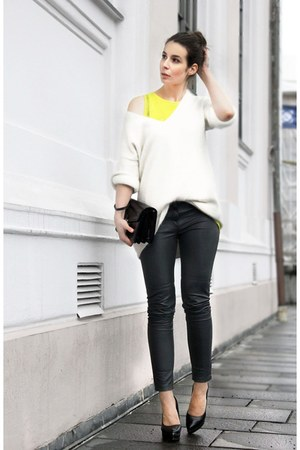 H&M sweater - H&M trend leather pants - H&M top