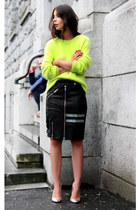 black acne skirt - chartreuse acne sweater
