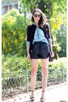 crimson Nanette Lepore blazer - light blue pocoloco shirt - black Burberry heels