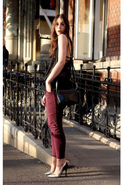silver Zara heels - crimson Isabel Marant pants - black Isabel Marant Etoile top