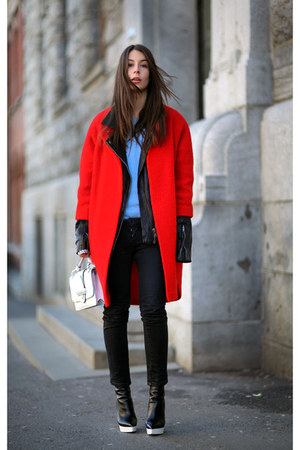 red H&amp;M coat - periwinkle acne sweater