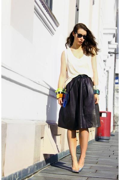 brown Topshop skirt - silver Zara heels - white H&M top
