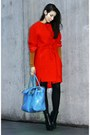 Red-h-m-trend-dress-black-alexander-wang-boots-burnt-orange-h-m-trend-coat
