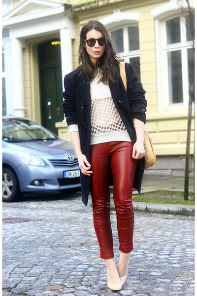 crimson Cubus pants - navy D&G jacket - off white Isabel Marant sweater