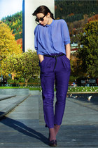 violet acne shirt - blue H&M pants - deep purple Michael Kors heels