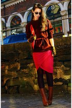 hot pink Hugo Boss skirt - tawny fabric scrap boots - crimson Nordstrom sweater