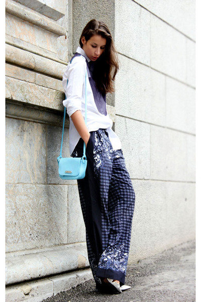 navy H&M Trend pants - white Celine shirt