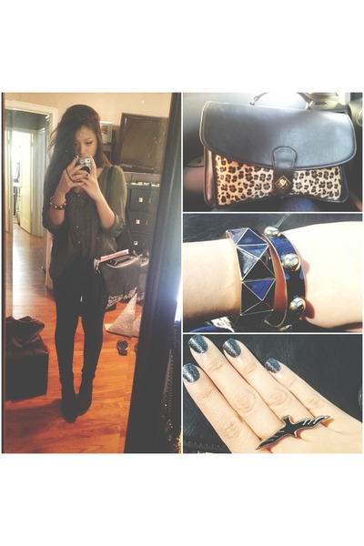 H&M wedges - jeggings Levis jeans - bag - Forever 21 bracelet