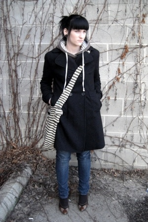 Jacob Connection coat - Bongo jeans - garage sweater - thrifted shoes - random p
