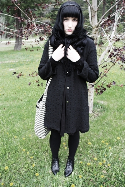 thrifted coat - H&amp;M dress - random scarf - thrifted shoes - purse - accessories