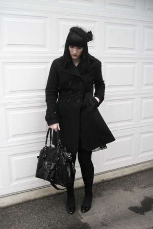 le chateau hat - jacon connection coat - Guess dress - H&M tights - random purse