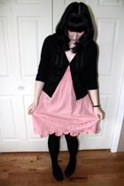 random dress - RW&CO sweater - random tights - jessica sport shoes - caravel bou