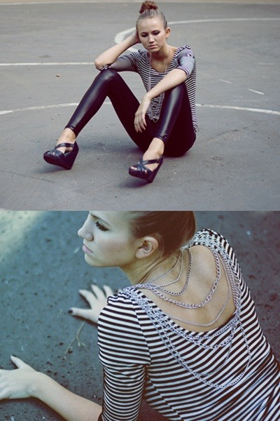 leather romwe leggings - stripped Zara top - chain Forever 21 necklace