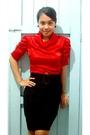 Red-random-find-top-black-random-find-skirt-black-vintage-belt
