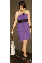 purple random find dress - black vintage belt - black random find shoes - white