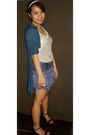 Green-thrifted-cardigan-silver-random-by-mom-top-blue-what-a-girl-wants-skir