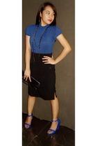 blue sm department store top - black random brand skirt - blue Melissa shoes - b