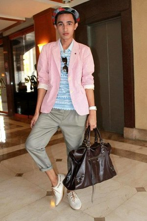 dark brown work bag balenciaga bag - salmon red blazer J Crew blazer