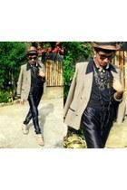 tan plaid blazer balenciaga blazer - black leather pants lanvin pants