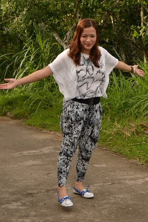 white paint splatter thrifted pants