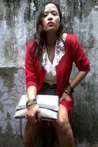 red Lanesa blazer - Grass Raggs shorts - white thrifted top - gray Fendi purse -