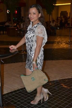 beige Parisian shoes - white lace thrifted vintage dress - beige Gucci bag