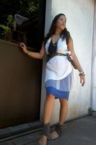 white thrifted dress - blue random from US skirt - random accessories - black te