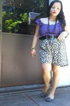 purple Kamiseta top - green moms shorts - black dept  store belt - black random