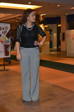 charcoal gray wide legged Topshop pants - black thrifted dress - beige Gucci bag