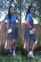 blue pop shop top - black coo coo shorts - beige Givenchy purse - beige Converse