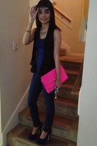 blue Forever 21 top - navy Forever 21 jeans - hot pink purse