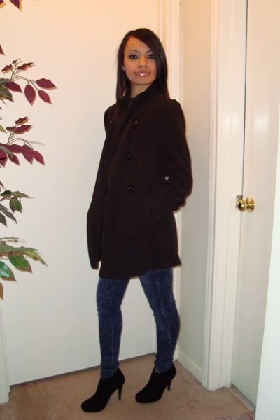 boots - coat - jeans