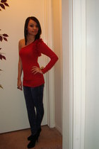 Forever 21 boots - Levis jeans - sweater