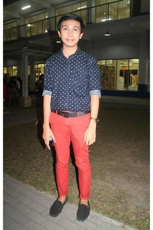 forest green shoes - navy Forever 21 shirt - ruby red pants