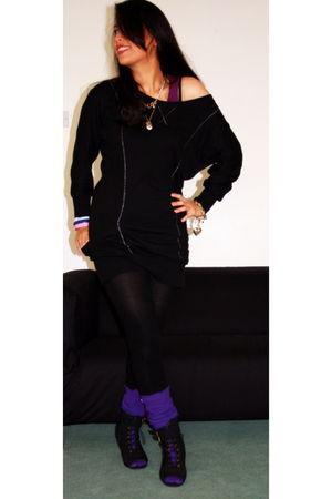 black dress - black H&M tights - purple socks - black Dorothy Perkins shoes