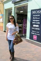 white blouse - brown Dr Martens boots - brown babyphat bag - brown Ray Ban glass