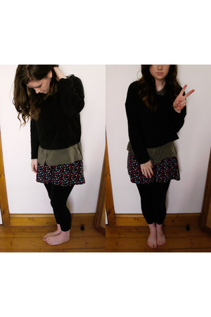 black Penneys leggings - dark khaki Forever 21 shirt - black hm jumper