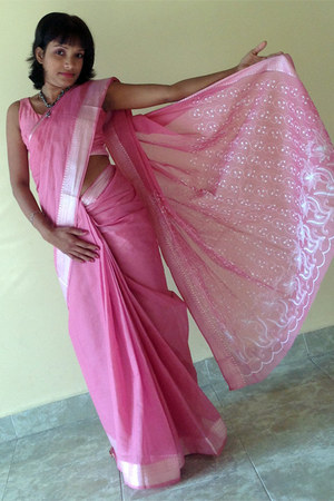 bubble gum saree Ranjanas dress