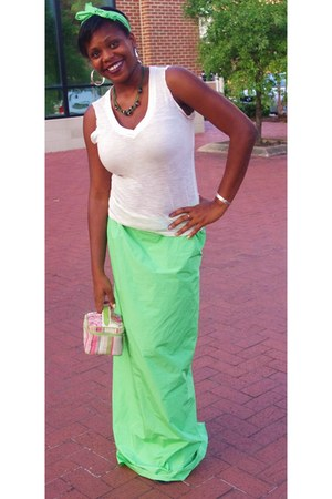 lime green maxi skirt DIY skirt - bubble gum tote square bag