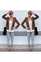 olive green military jacket Zara jacket - periwinkle baggy jeans Zara jeans